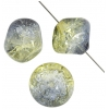 Glass Bead Cracked 13mm Fancy Strung Two-Tone Yellow/Montana